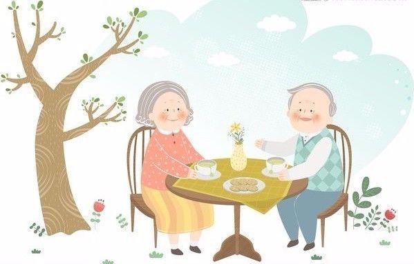 老人孤独卡通手绘