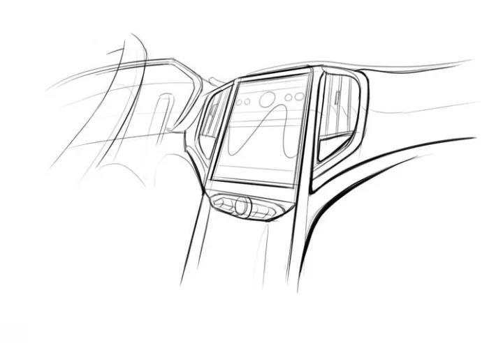 """汽车 正文  从手绘图上看,中华v6的内饰采用以""""驾驶者为中心""""的t字型"""