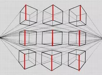 ②两点透视(也称成角透视,物体向两个消失点消失)