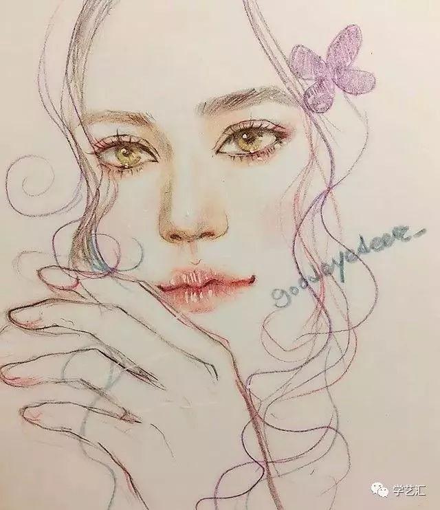 喜欢用白色高光笔点缀亮面 她的作品习惯用 水溶性德国思笔乐彩铅作画