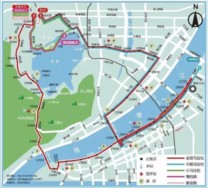 2017杭州马拉松路线图-提醒 老司机请注意 周日杭州马拉松,交通管控图片