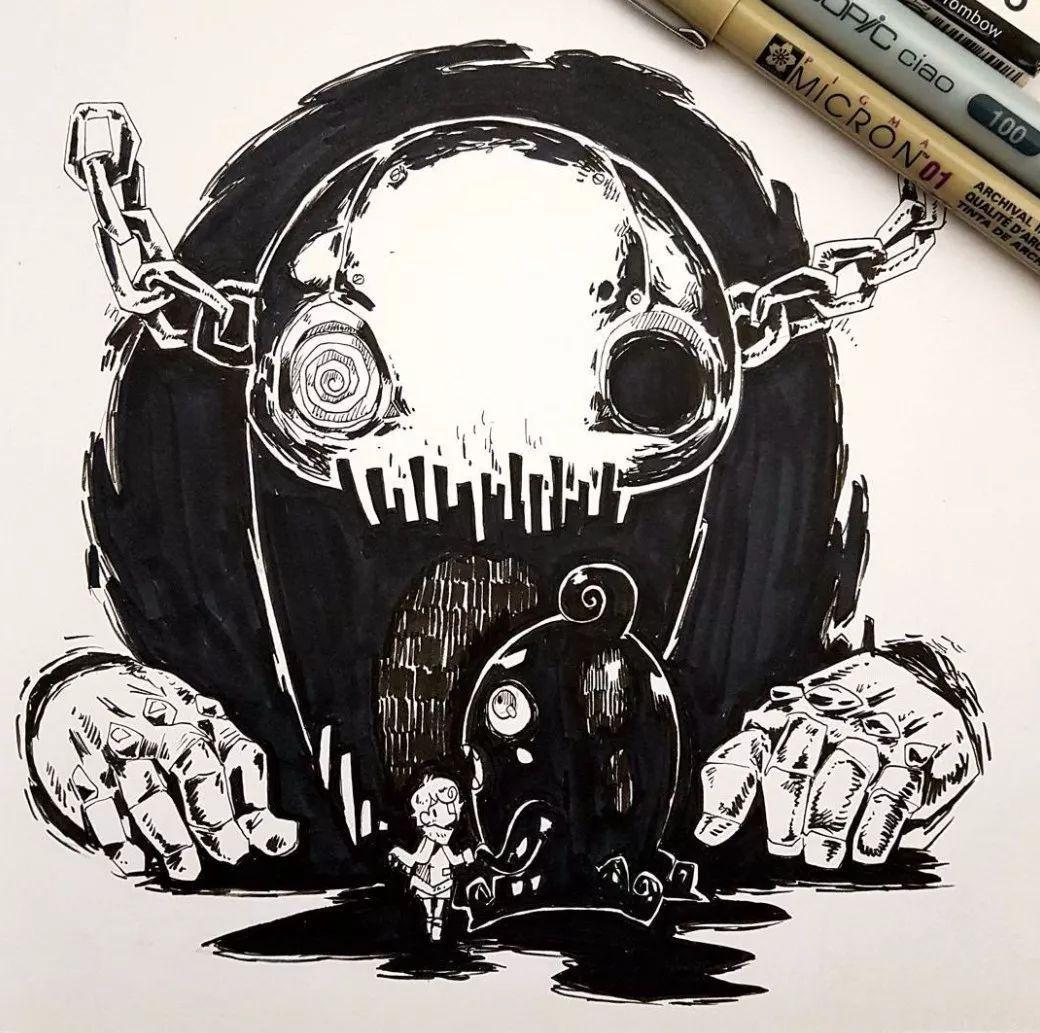 有点儿萌 有点儿酷 还有点儿恐怖的插画,太吸眼球了