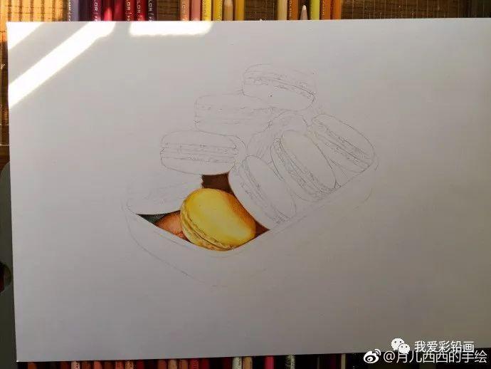 【彩铅手绘】画一个美味的马卡龙~甜腻歪!