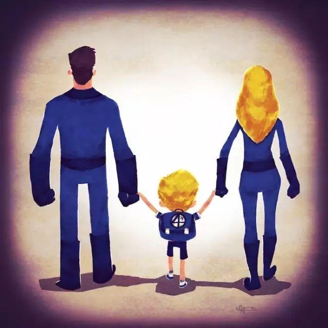 ins爆红的感人插画:孩子们眼中真实的父母图片