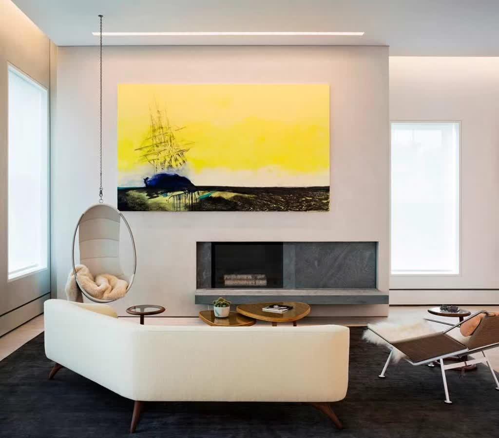 美式公寓内部手绘图