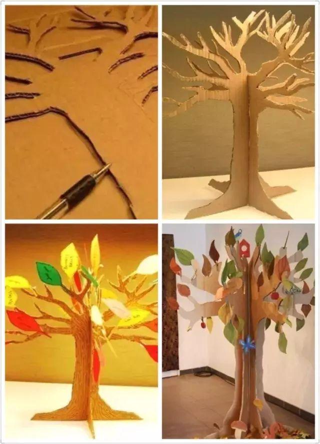 纸箱手工制作大树立体