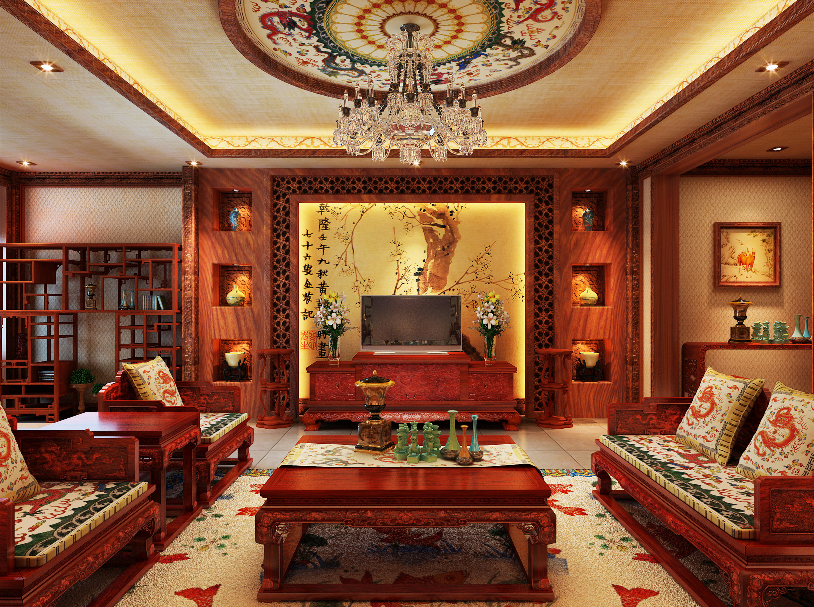 中式红木古典装饰风格别墅设计
