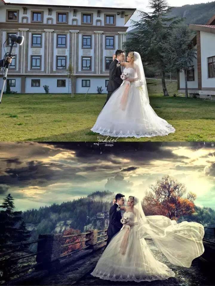 而且能够让在破烂场景下拍摄的婚纱照p成全世界最美的景色图片