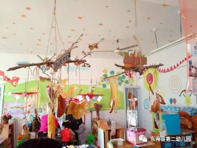 用麻绳将树枝悬挂展示,可以用来装饰作品展示,也可以用作区域隔断.