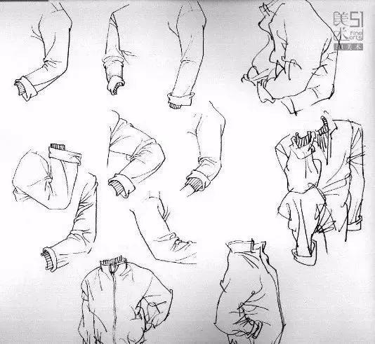 人物的衣服主要是衣袖,衣袖的褶皱处,在关节的转折点可以线条变化的