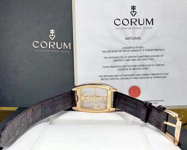 CORUM昆仑 金桥 113.161.85 18K玫瑰金 原装钻石 男装腕表 常州哪里高价回收昆仑手表
