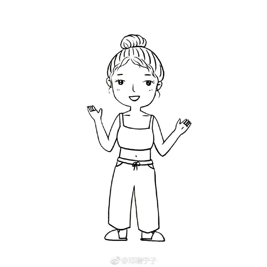 漂亮的人物简笔画大全,q版可爱小女生简笔画