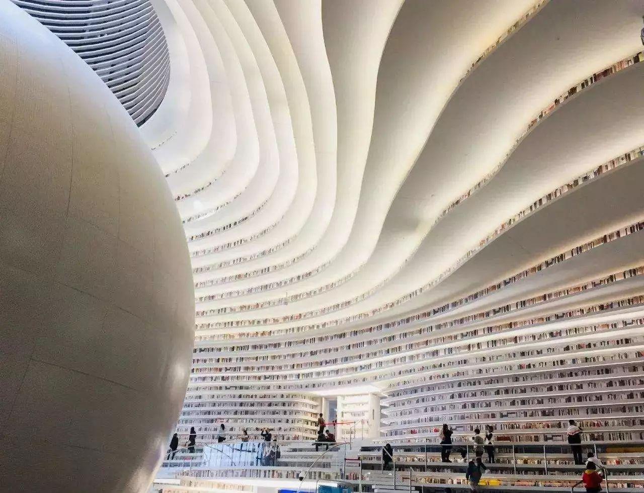 """最近,又一家号称""""中国最美图书馆""""——天津滨海新区图书馆在开放后图片"""