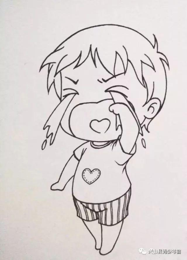 手绘人物唯美流泪