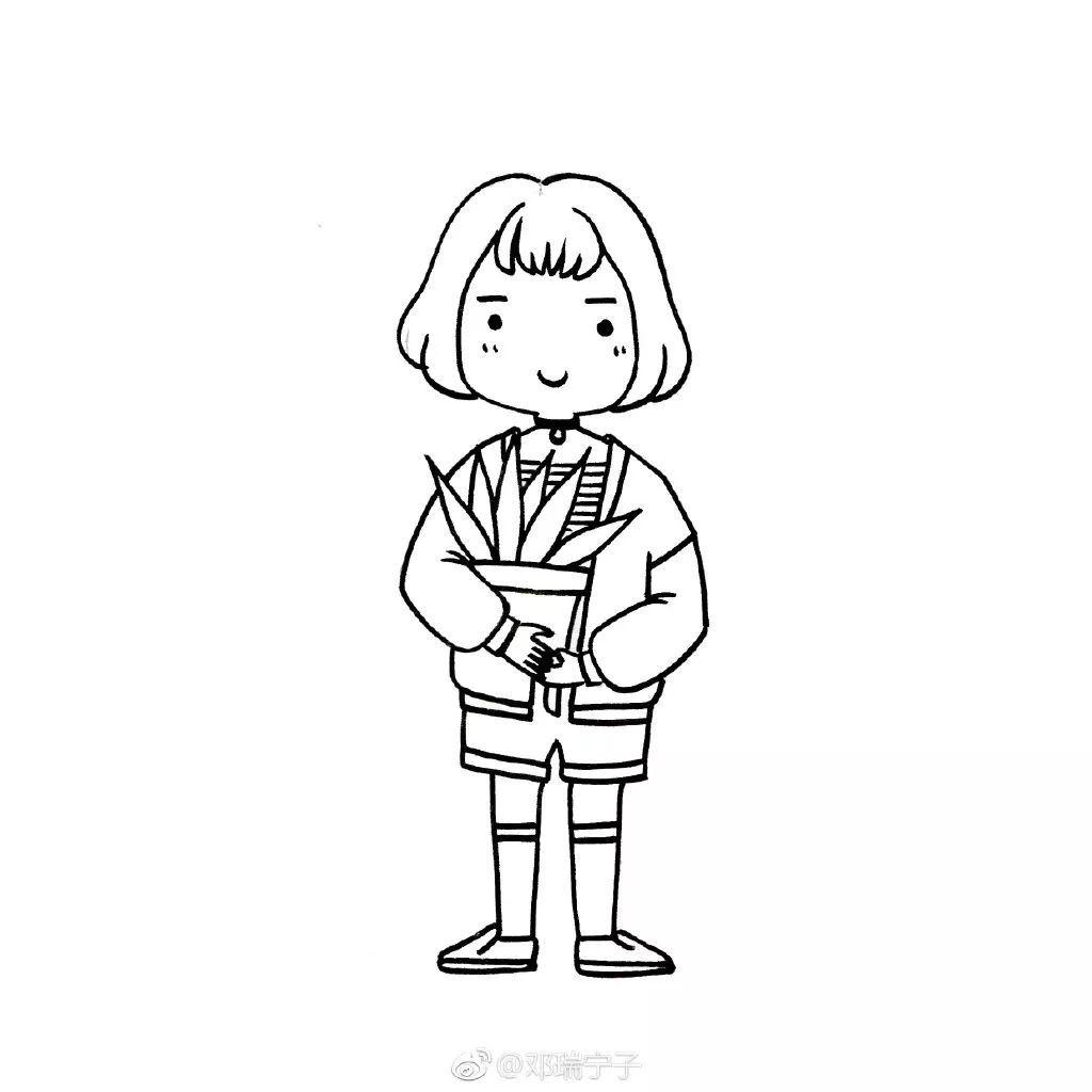 手账简笔画 一组可爱小女孩的黑白线稿