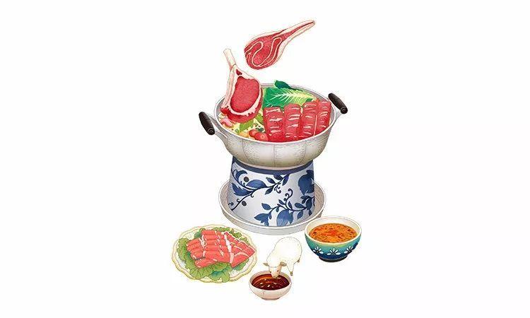 羊肉火锅搭配蔬菜是入冬进补食选.