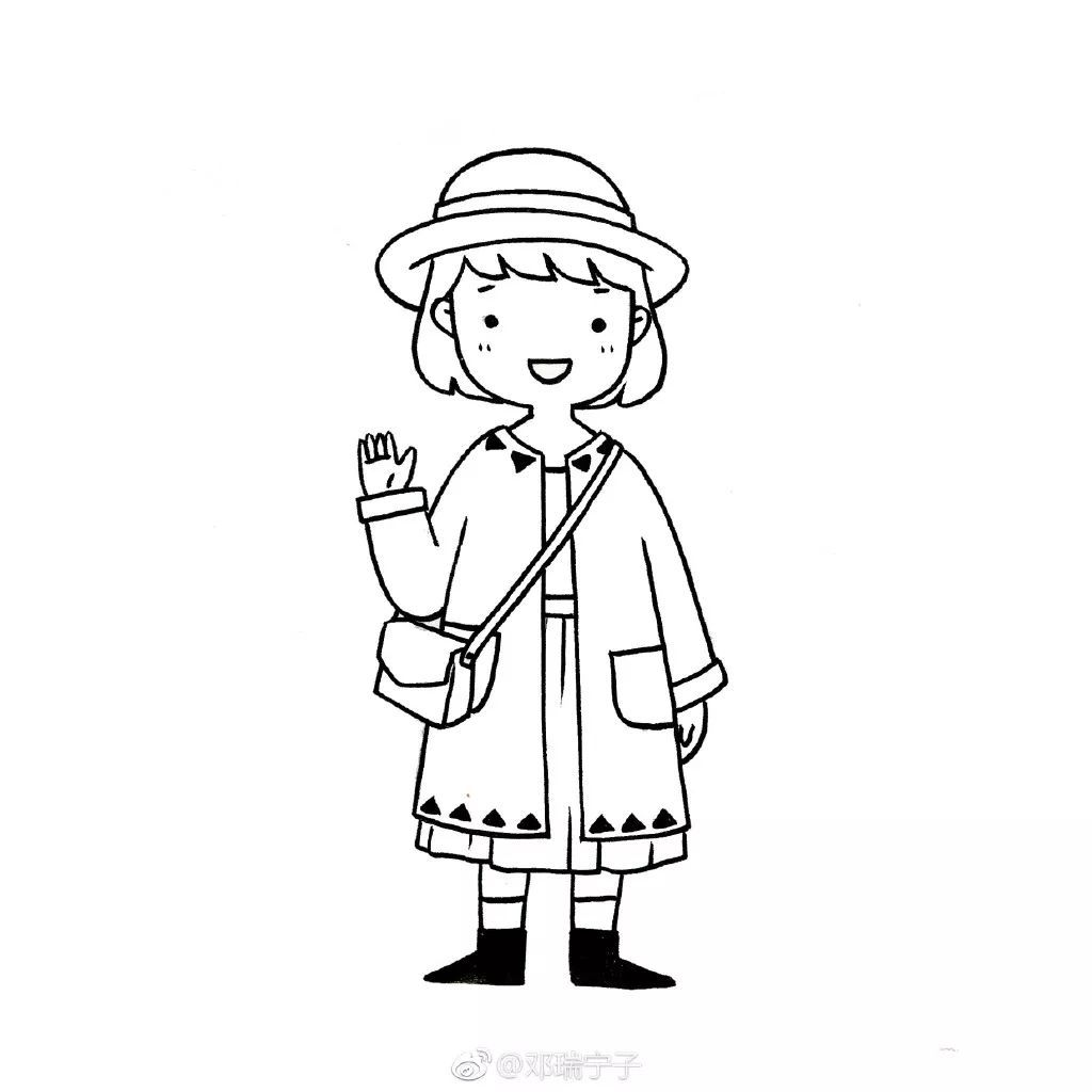 手账简笔画 | 一组可爱小女孩的黑白线稿