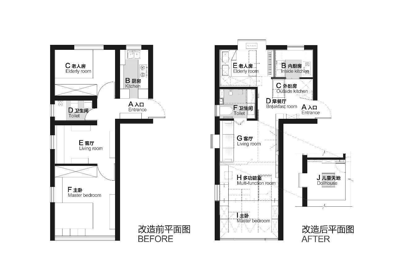 90平方房子设计图纸(长11米宽7.2米)一厅三房如何设计_一起装修网
