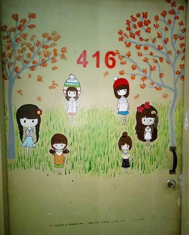 宿舍主题门上手绘海报
