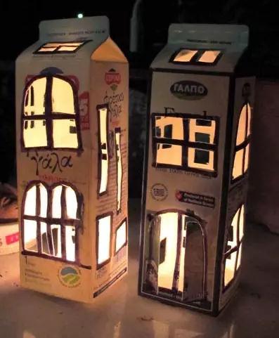 视讯网推荐—牛奶盒与玻璃瓶小灯笼手工制作教程图片