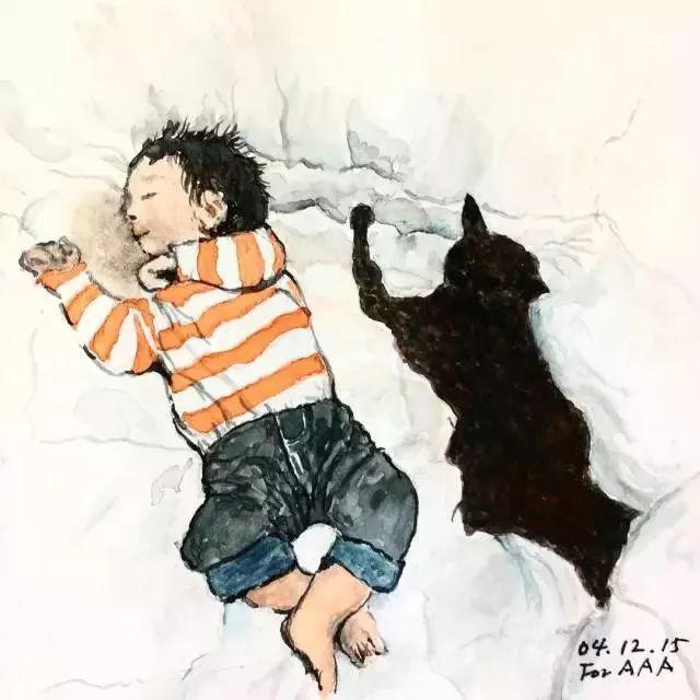 朋友圈,他却用600多幅画记录孩子的成长,感动30万人