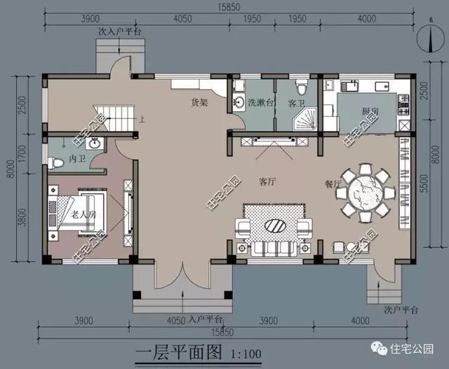 二层两套房,均带卫生间,主房空间更大;东侧一面为整个露台设计,可用来图片