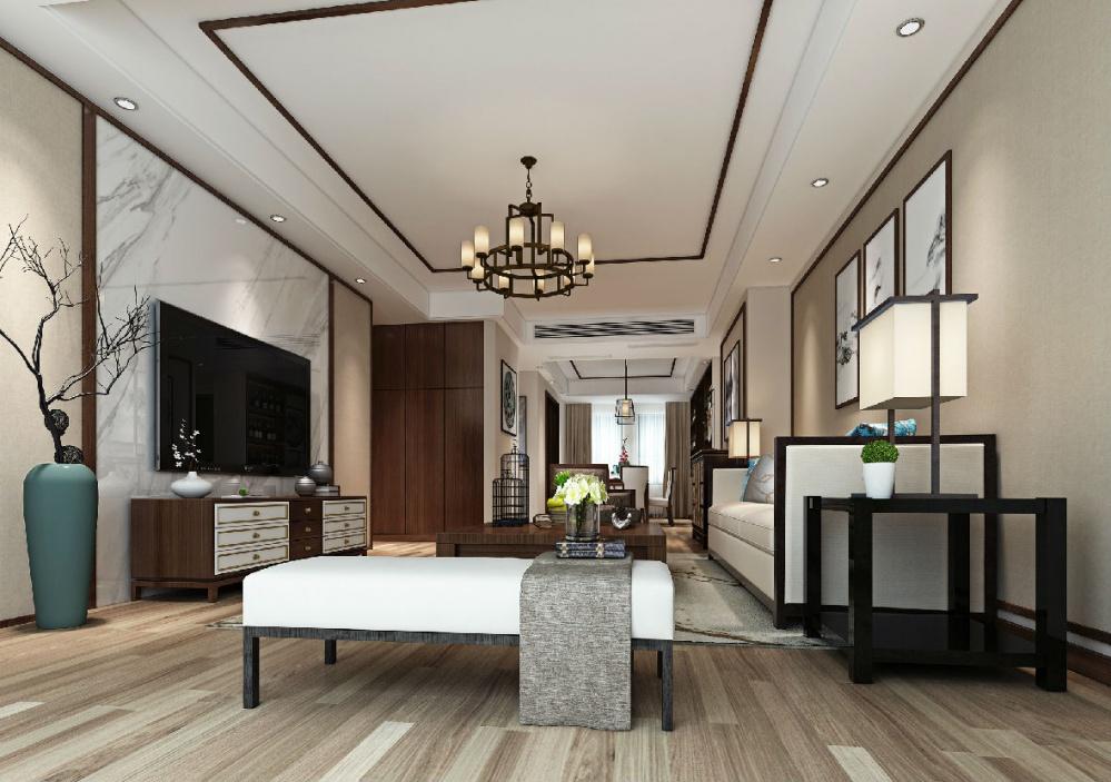 整个空间营造的典雅,自然的气质,客厅背景墙采用传统大理石做造型,给图片