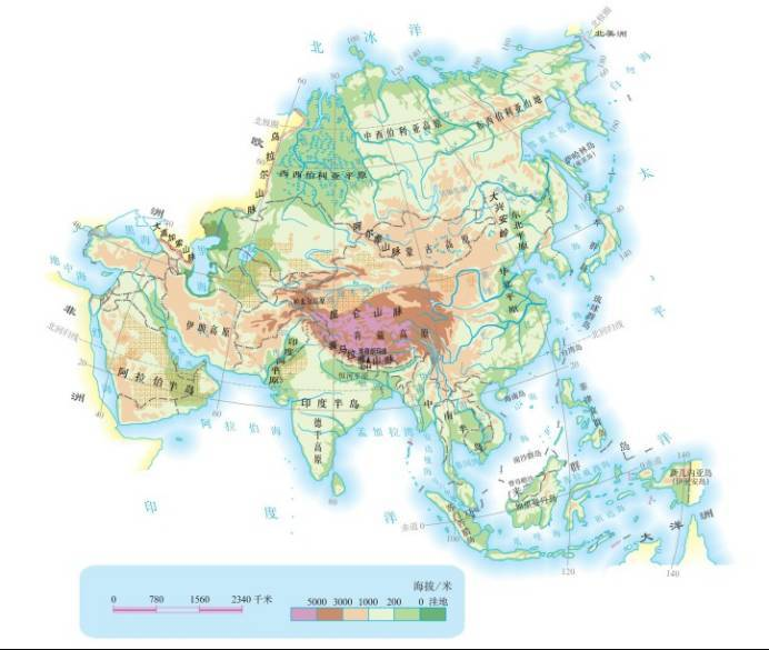 亚洲地形图