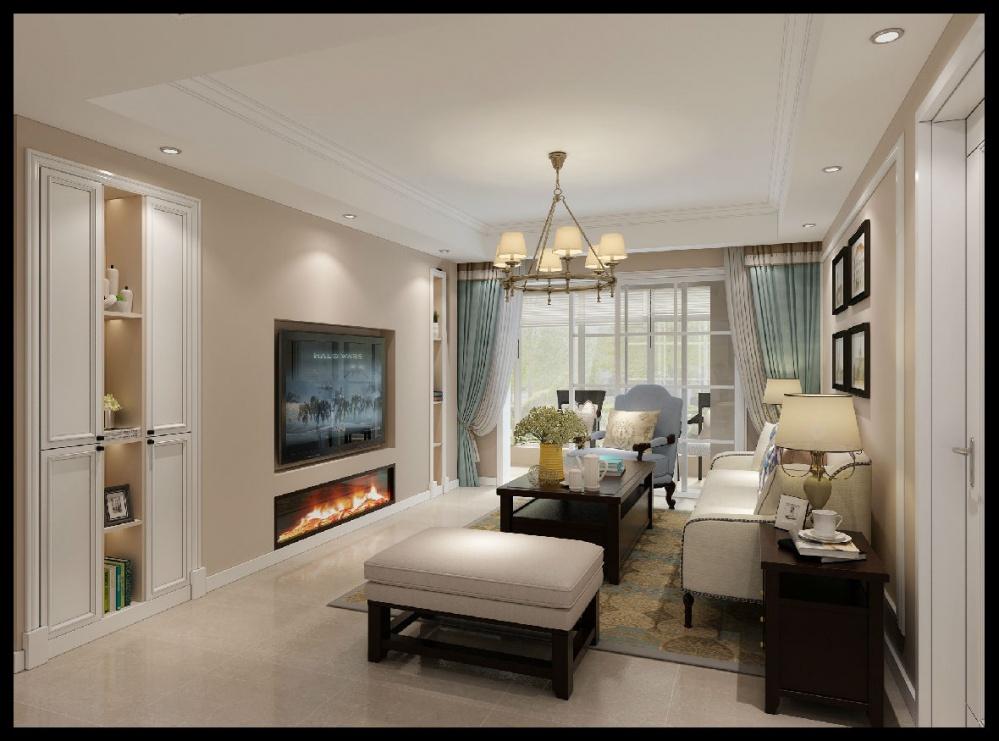 大客厅装修效果图欣赏.美式风格