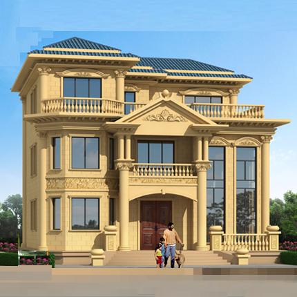 占地150平米欧式三层别墅图纸农村自建房设计图建筑图 复式楼施工方案
