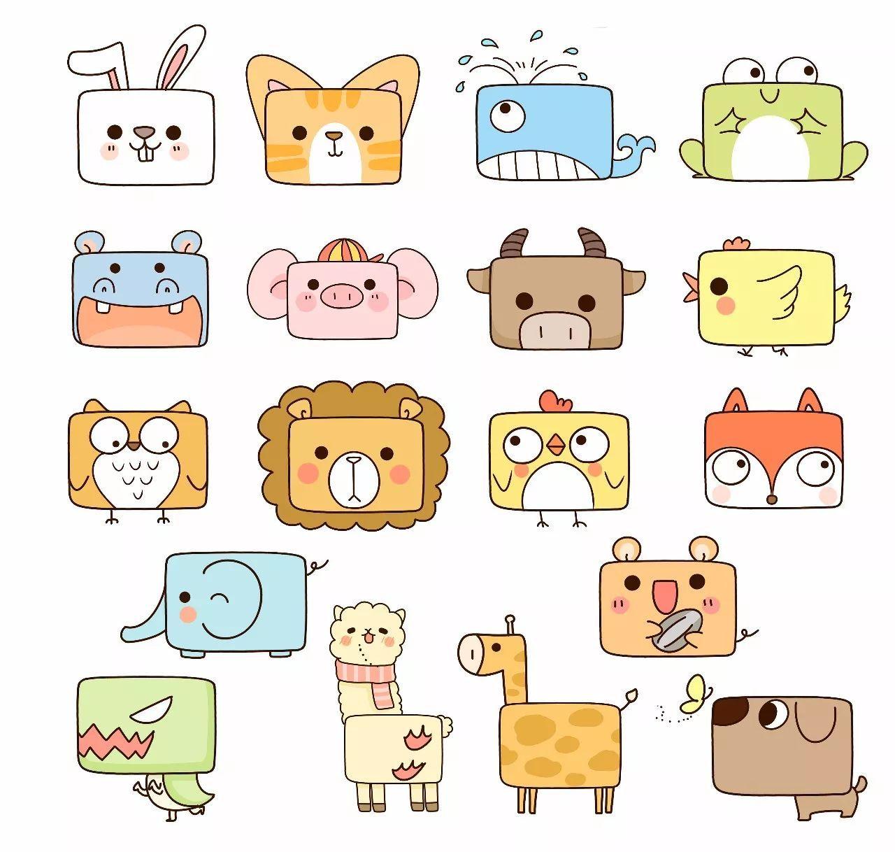 人气漫画师教你q萌简笔画,一个框一个圆就能变出许多小动物