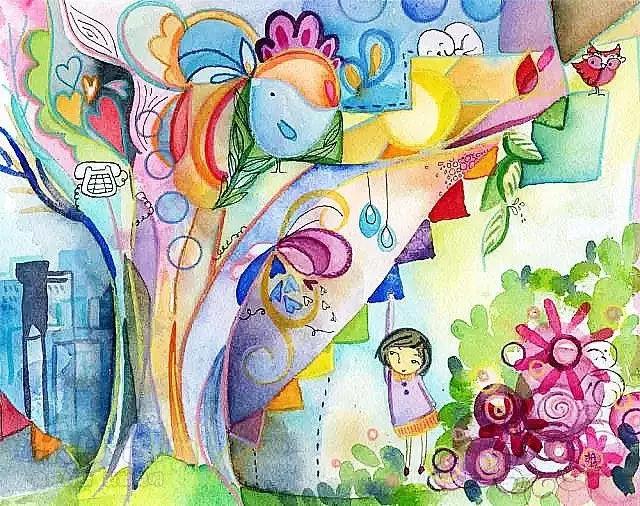 超美的幼儿园儿童水彩画素材(收藏)图片