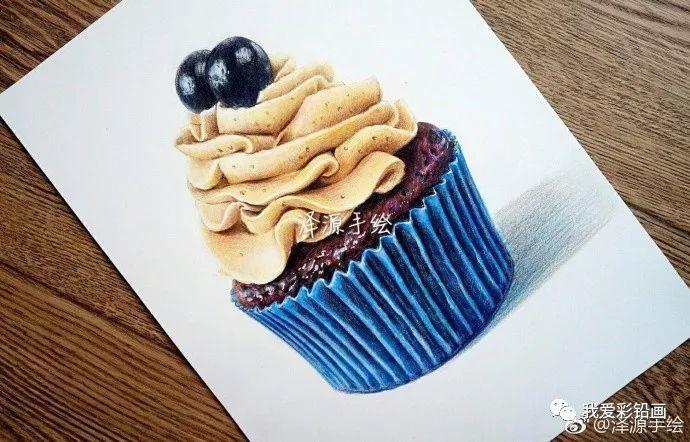 彩铅手绘!蓝色纸杯蛋糕冰激凌