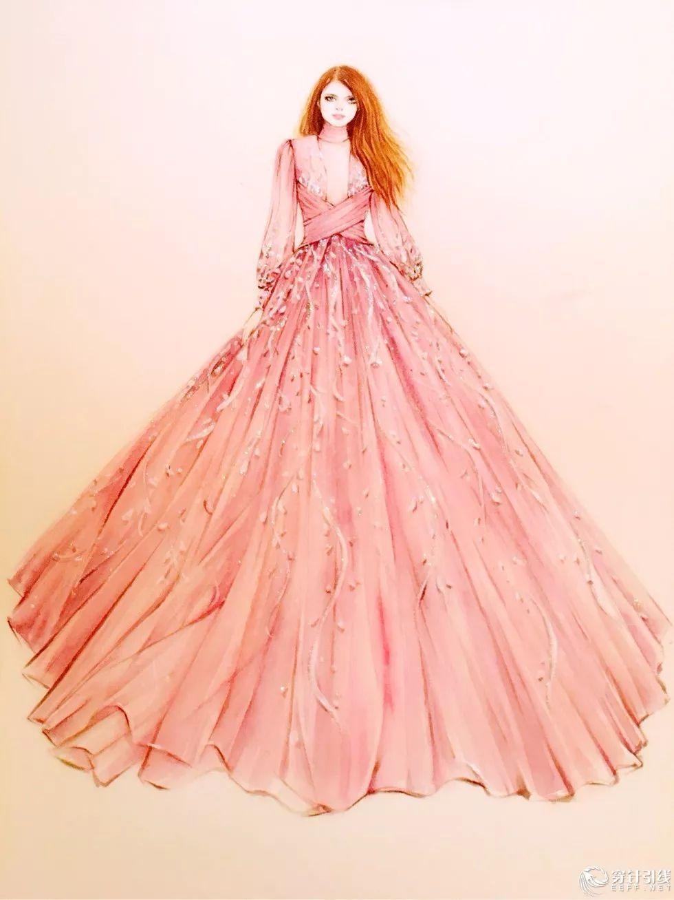 时装手绘 | 慕轩的唯美婚纱手绘