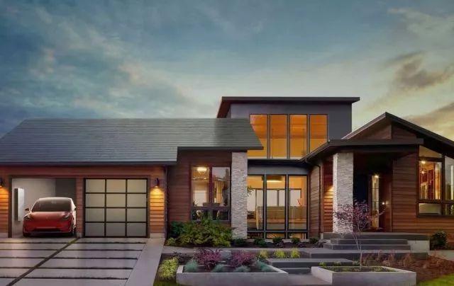 加装 tesla 太阳能屋顶概念图图片