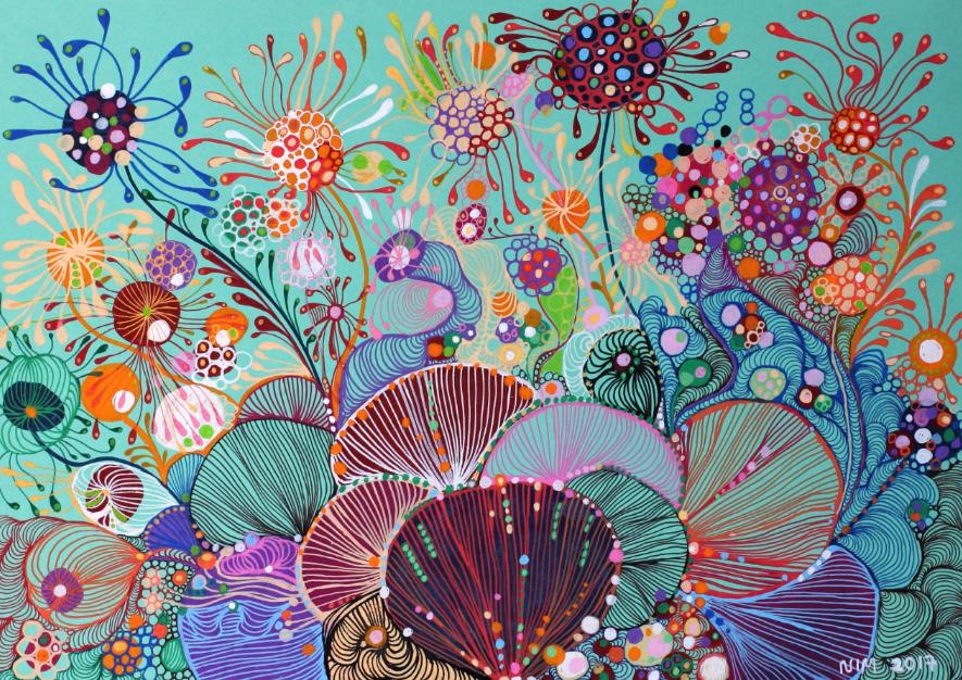诺埃米主要运用丙烯颜料和马克笔进行创作.
