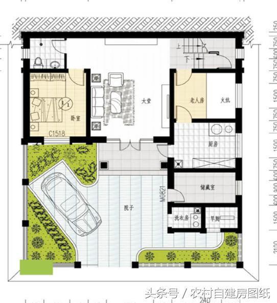 20万带庭院的农村房屋设计图,5套方案,2款带火炕(含预算)图片