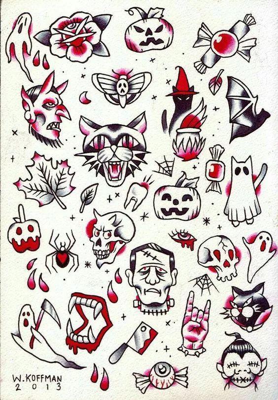 时尚 正文  一些关于万圣节的手绘小插画 用黑色勾线笔画在手帐本上