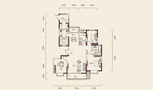 郑州广电天韵139平三室两厅中式风格装修效果图图片