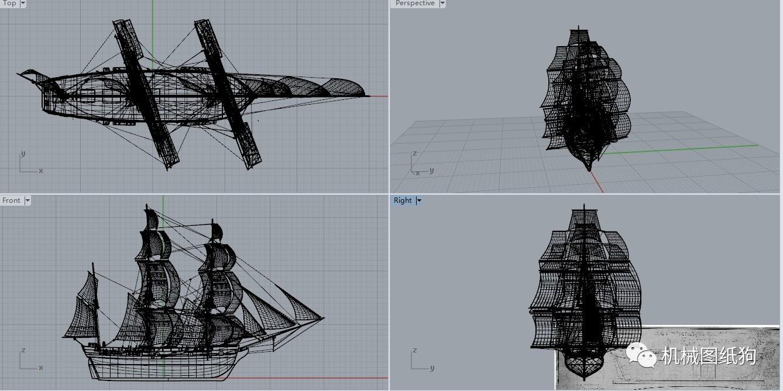 达尔文所乘小猎犬号海军勘探船设计图纸 古帆船模型Beagle 3dm图片
