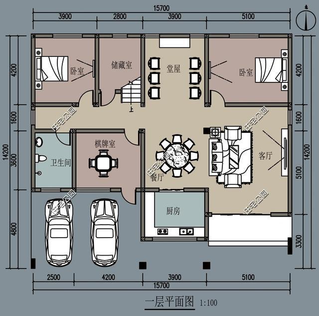 14米x10米三层房设计图