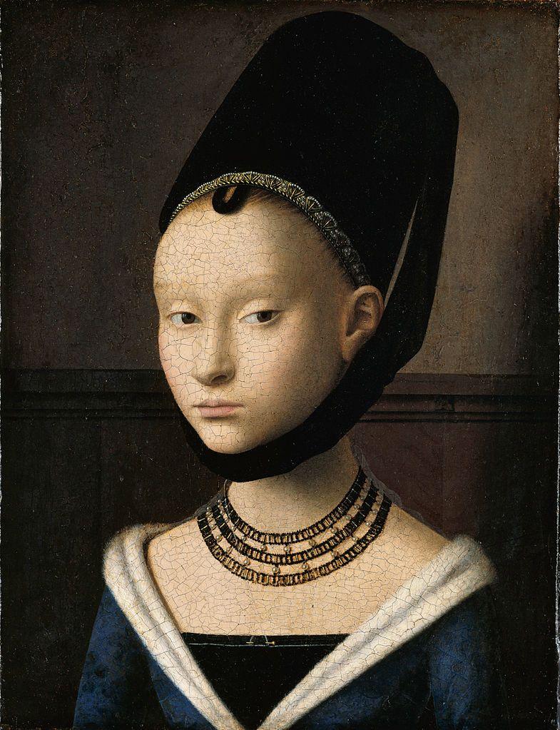 佩特鲁斯·克里斯图斯 一个年轻女孩的肖像 29*22.5cm 木板油画 1470 柏林画廊