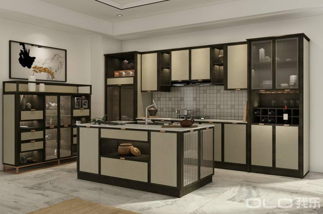 从西方流行过来的厨房中岛设计,搭配禅意十足的中式风格,让烟火气的图片