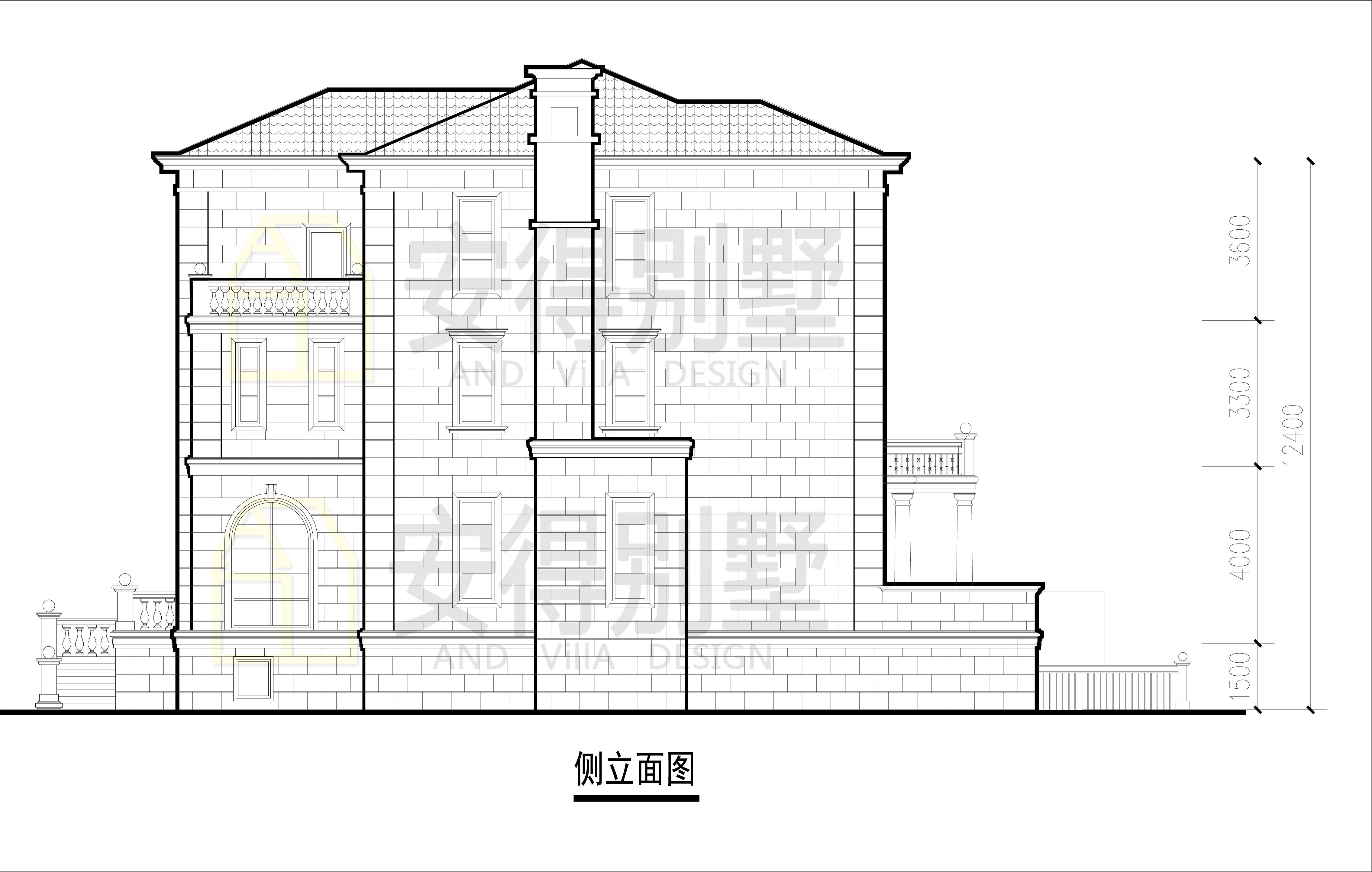农村豪华欧式别墅设计图纸,每个卧室都配有卫生间的户型设计