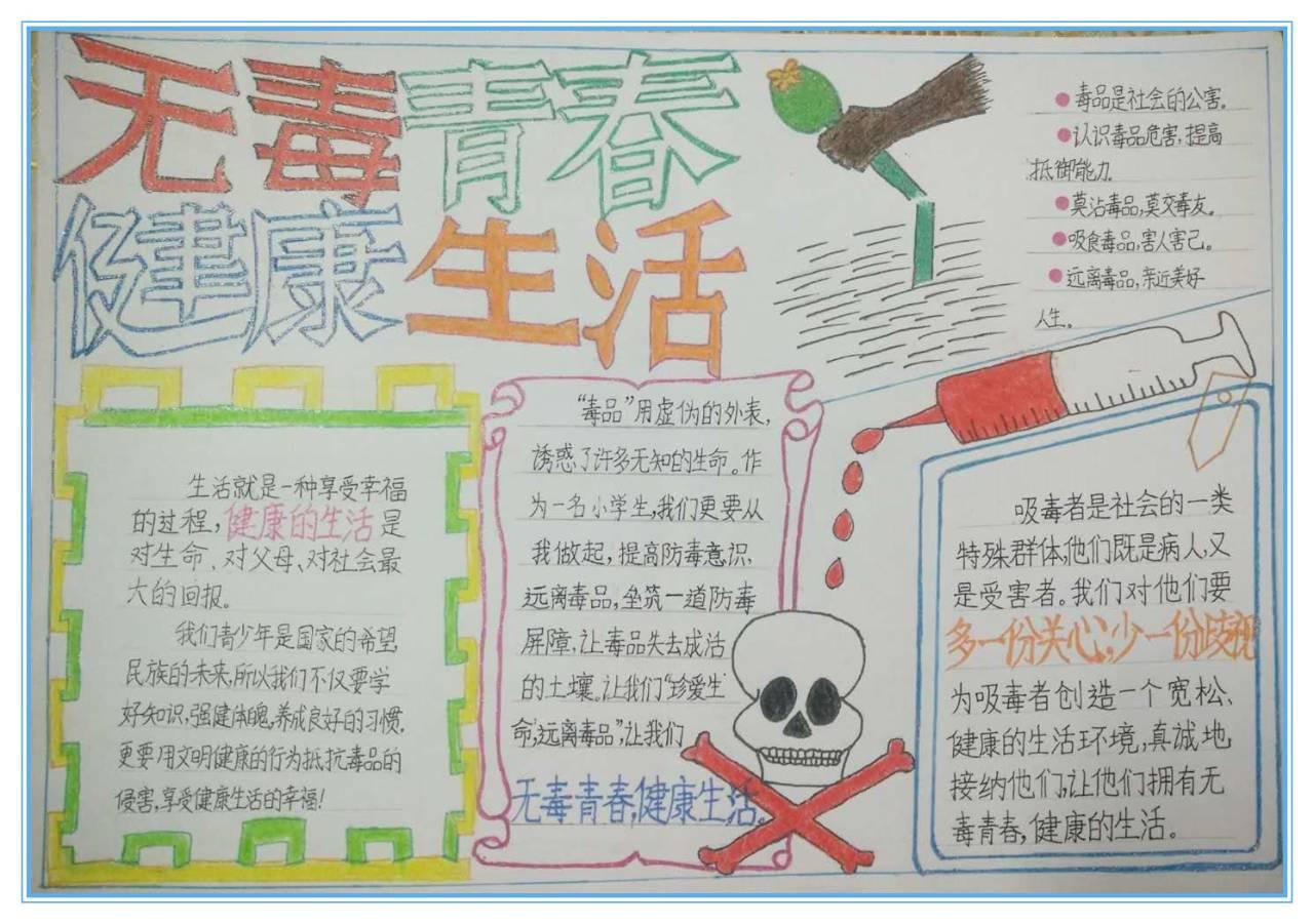 """揭阳空港经济区""""无毒青春 健康生活""""青少年禁毒手抄报图片"""