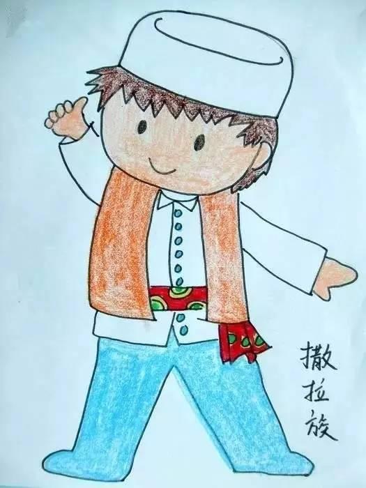 儿童蜡笔画 56个民族特色,快教孩子吧