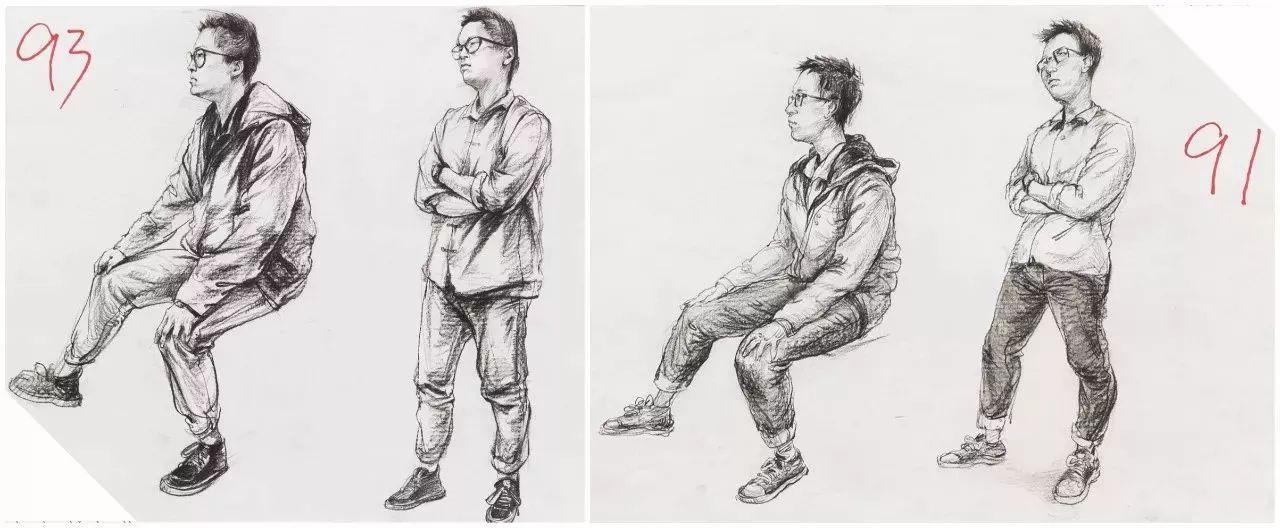 4,透视上 坐着的模特左腿在前右腿在后,因为近大远小,再加上考题拍照