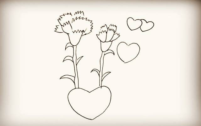 每日一画 | 《康乃馨》简笔画,感恩节公开课素材!