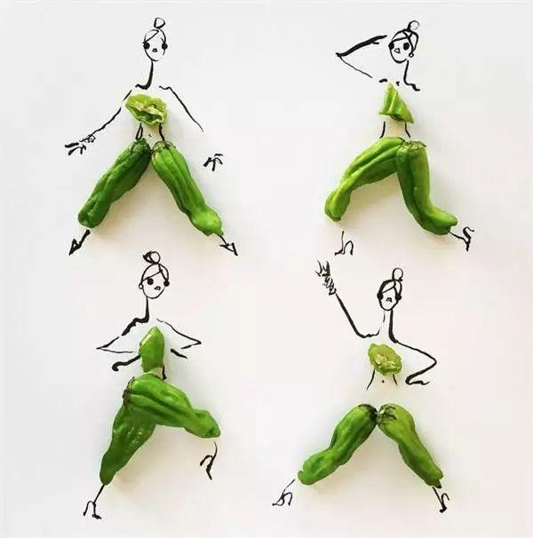 时装插画师gretchen roehrs将食物元素融入时尚设计,设计出了简单又俏皮的时装手稿