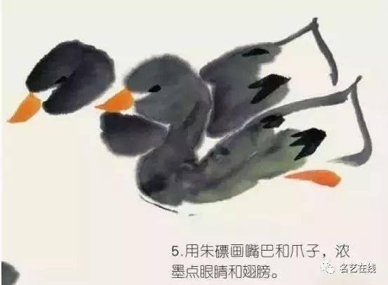 国画技法 写意丝瓜和鸭子的画法